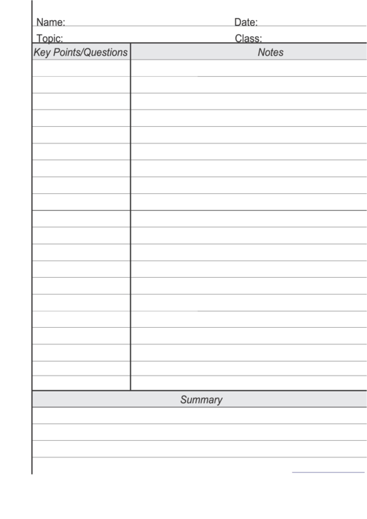 blank cornell notes template printable pdf download