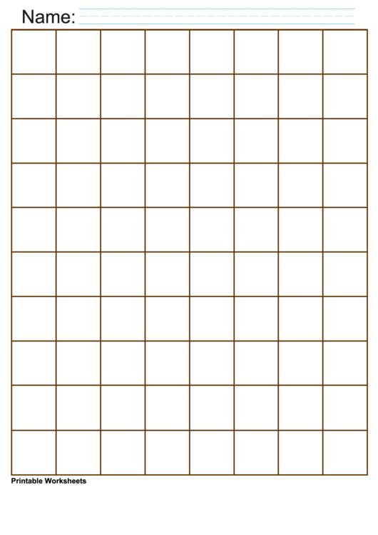 1 Inch Brown Large Graph Paper Printable pdf