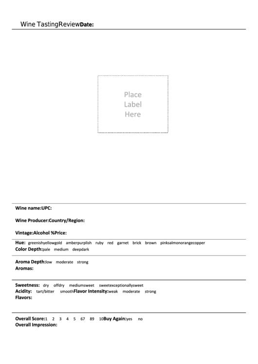 Wine Tasting Review Sheet Printable pdf