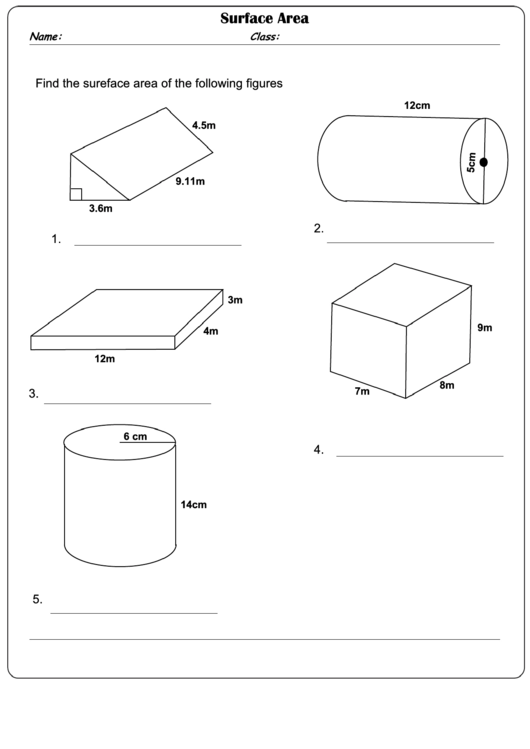 Surface Area Worksheet With Answer Key printable pdf download
