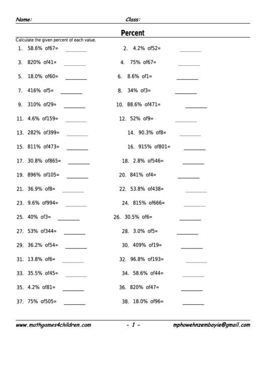 Percent Decimals Worksheet With Answer Key