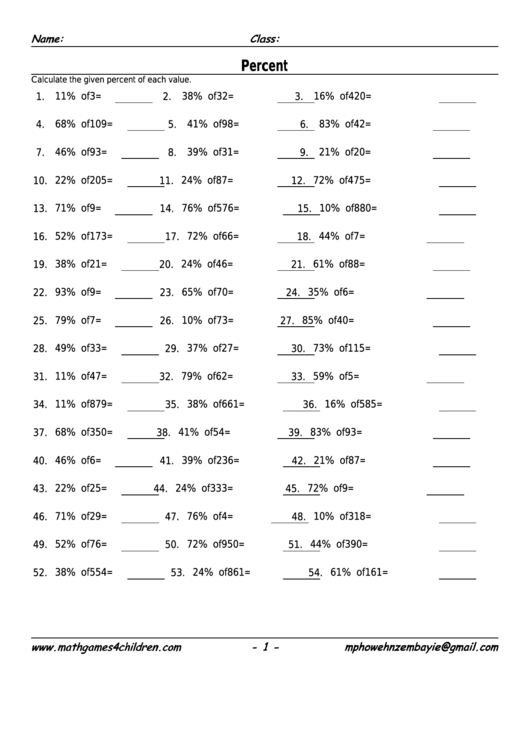 Percent Worksheet With Answer Key printable pdf download