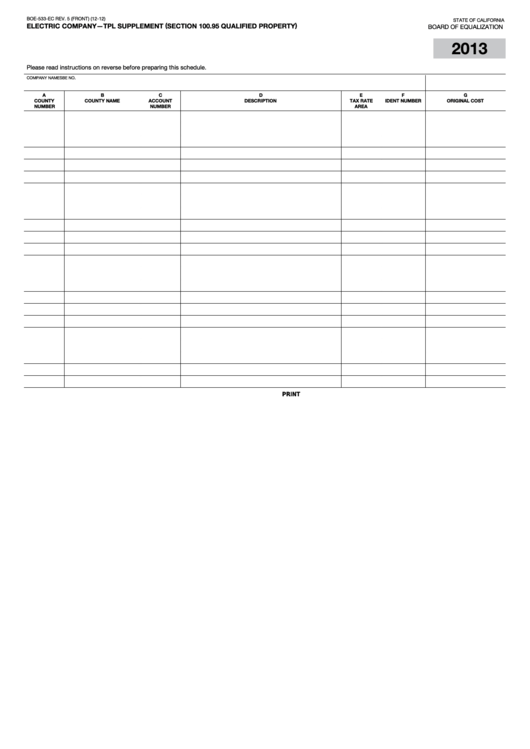 Fillable Form Boe-533-Ec - Electric Company - Tpl Supplement (Section 100.95 Qualified Property) Printable pdf