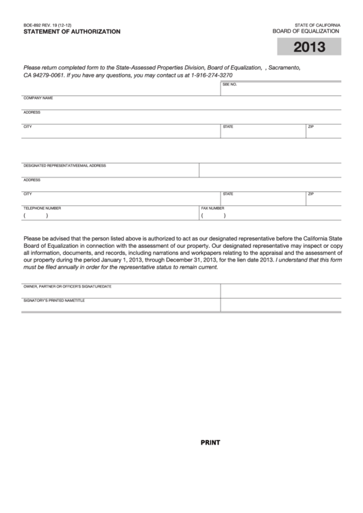 Fillable Form Boe-892 - Statement Of Authorization - 2013 Printable pdf