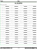 Pre-algebra Multiplication Worksheet With Answer Key