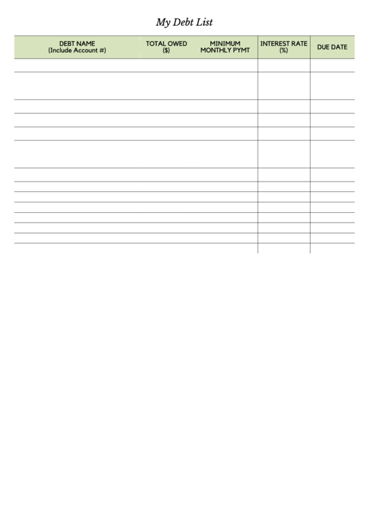 My Debt List Spreadsheet