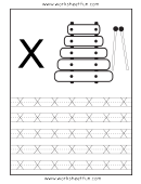 Letter X Tracing Template