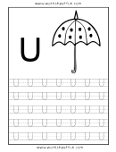 Letter U Tracing Template