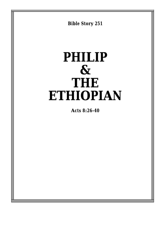 Philip And The Ethiopian Bible