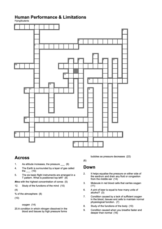 Human Performance And Limitations Crossword Puzzle Template