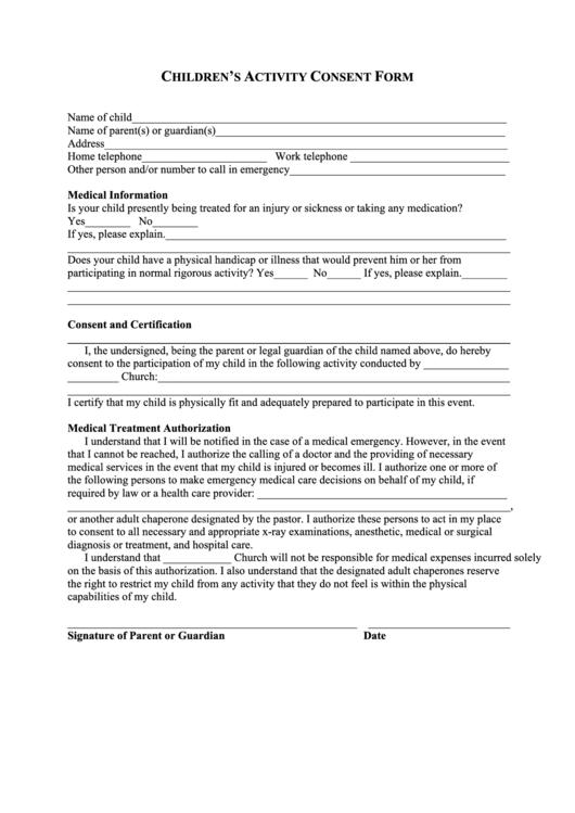 Children's Activity Consent Form