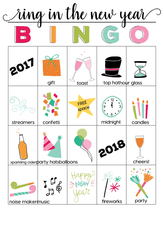 Ring In The New Year Color Bingo Cards Template - 2017-2018