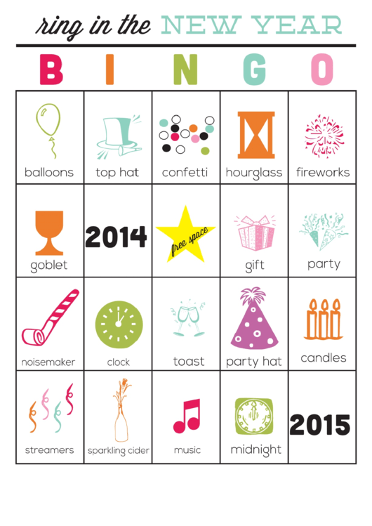 Ring In The New Year Color Bingo Cards Template - 2014-2015