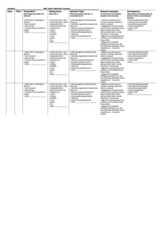 Abc Data Collection Spreadsheet Printable Pdf Download