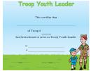Troop Youth Leader Certificate Template