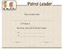 Patrol Leader Certificate Template
