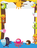 Funny Animals Page Border Templates