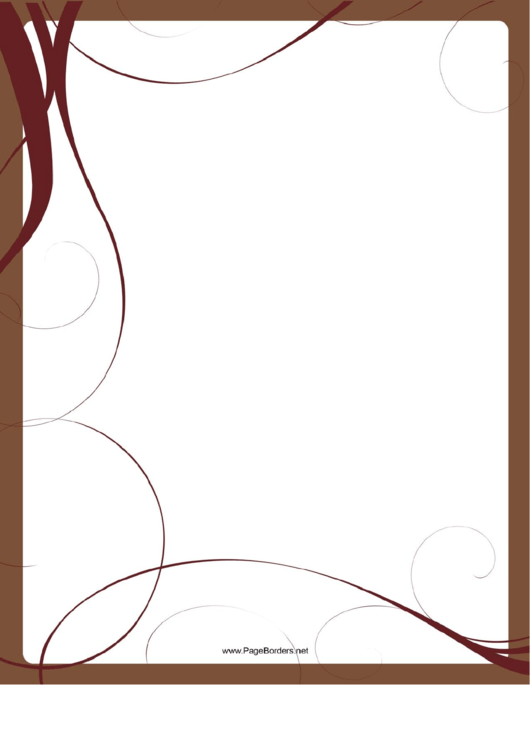 brown whirls page border templates printable pdf download