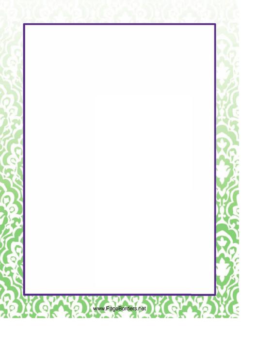 White Pattern On Green Page Border Templates Printable pdf