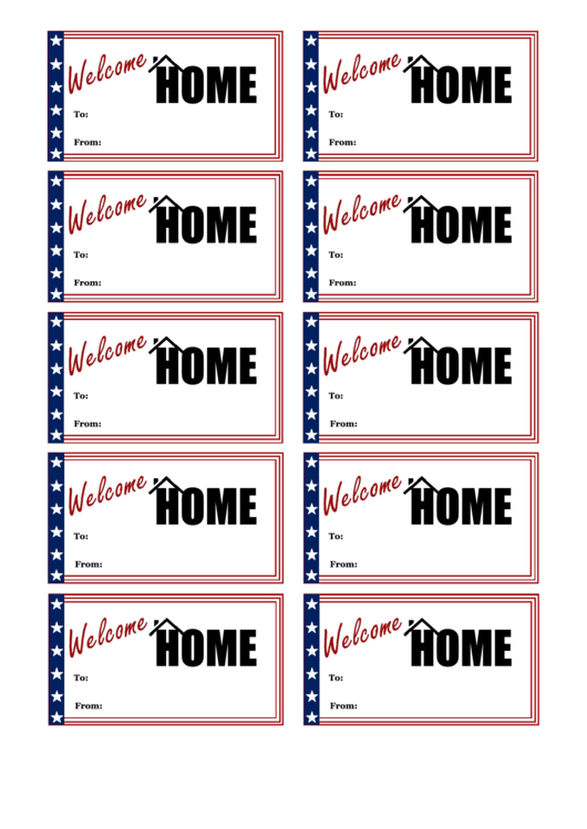 Welcome Home Tag Template