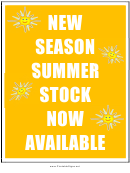 New Season Summer Stock Now Available Sign