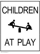 Children At Play Sign Templates