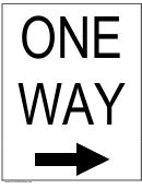 One Way Right Sign Templates
