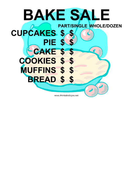 Bake Sale With Price List Sign Printable Pdf Download