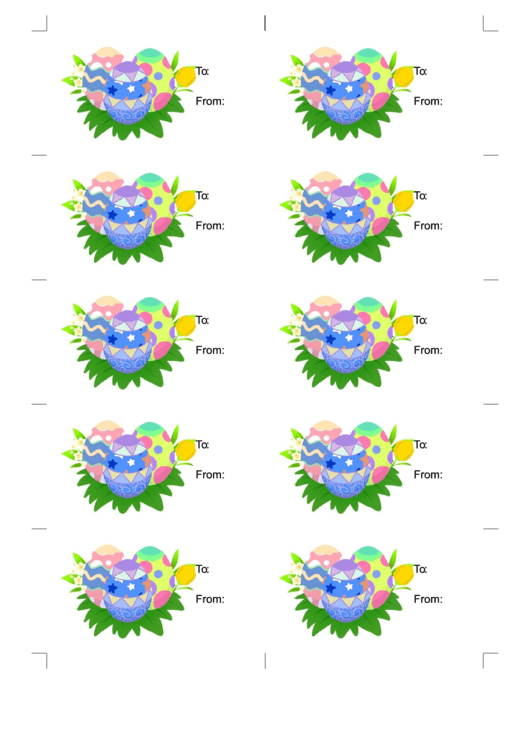 Easter Eggs Gift Tag Template