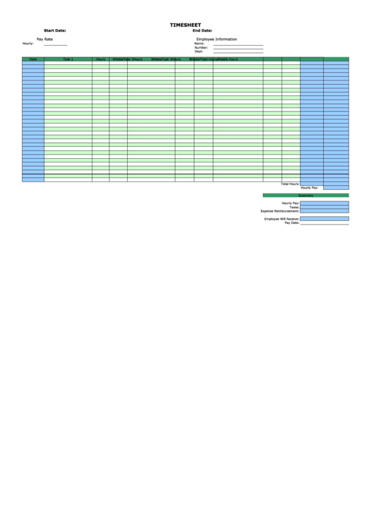 Monthly Horizontal By Task Billable Template
