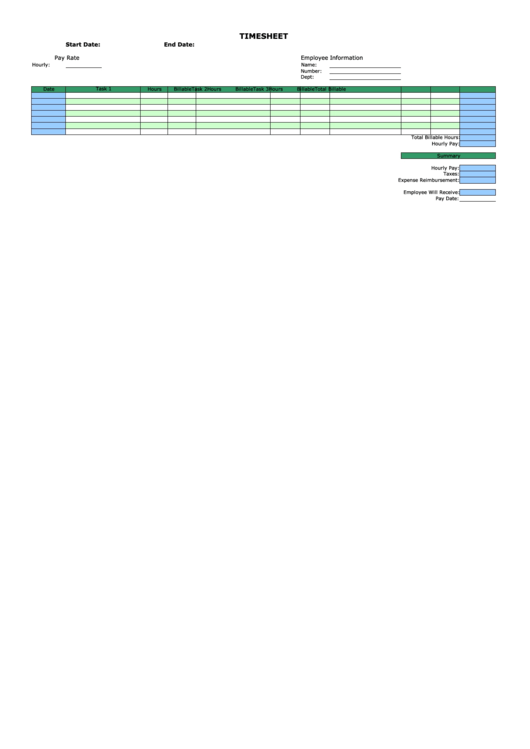 Weekly Horizontal By Task Billable Template