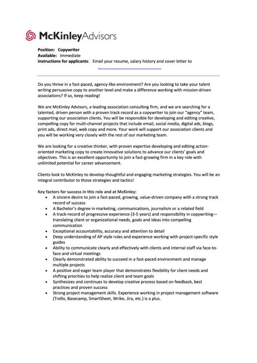 Mckinleyadvisors Cover Letter For Copywriters Printable pdf