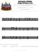 Happy Birthday To You Harmonize A Melody Worksheet Template