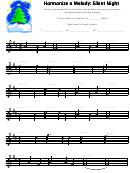 Silent Night Harmonize A Melody Worksheet Template