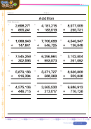 Up To Millions Addition Worksheet Template With Answers