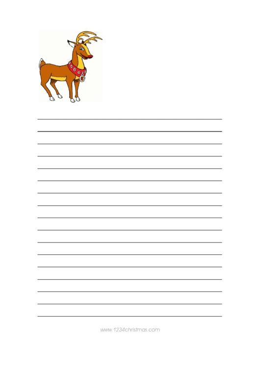 Deer Christmas Writing Paper Template