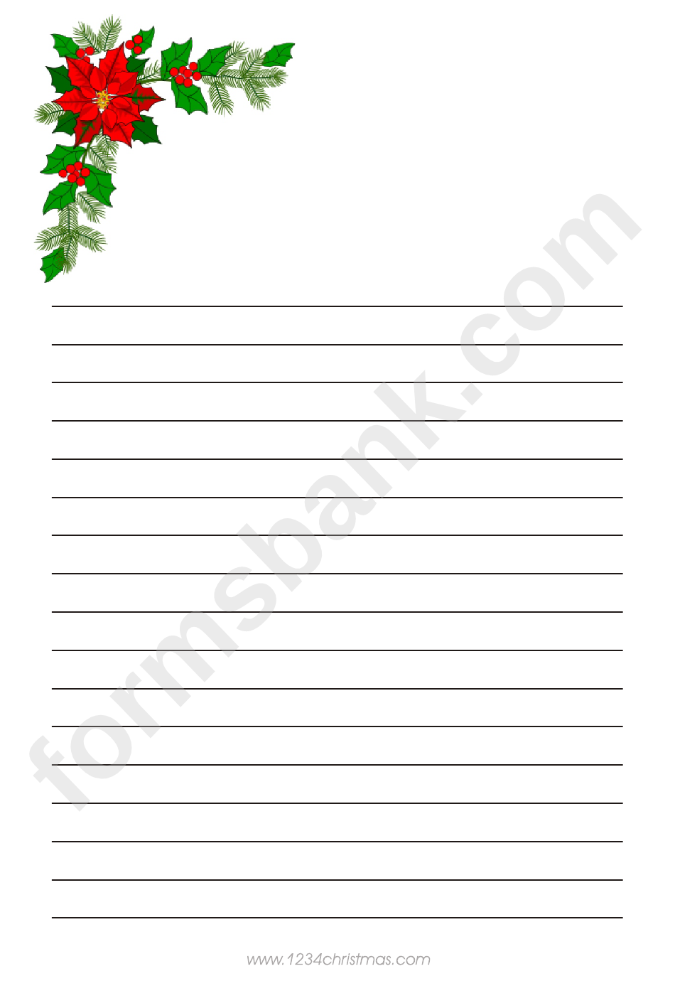 Christmas Tree Branch Writing Paper Template