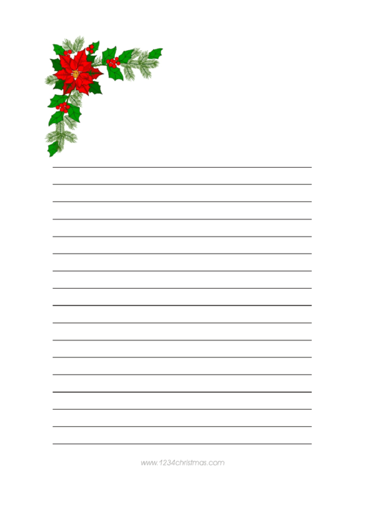 Christmas Tree Branch Writing Paper Template Printable pdf