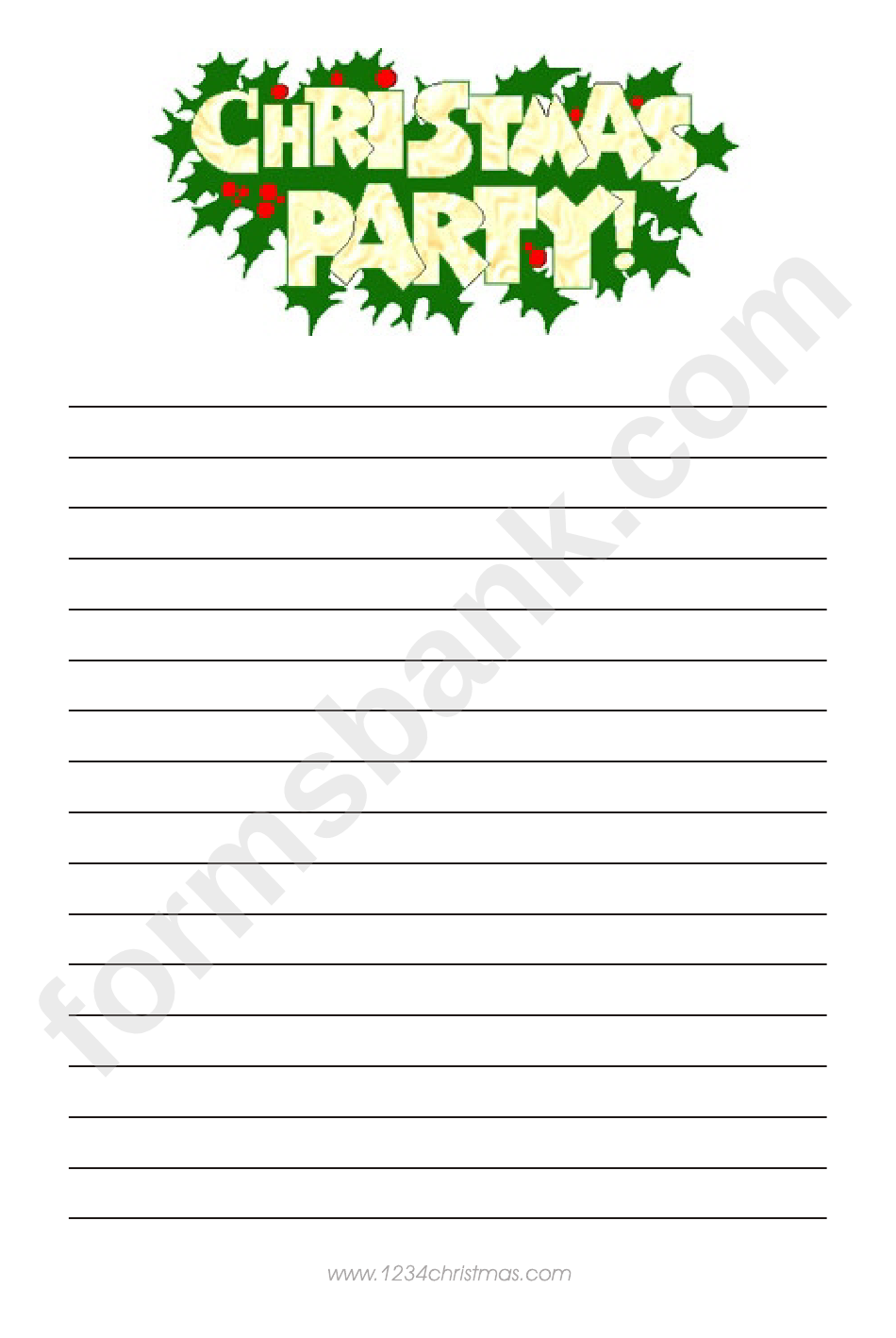 Christmas Party Writing Paper Template