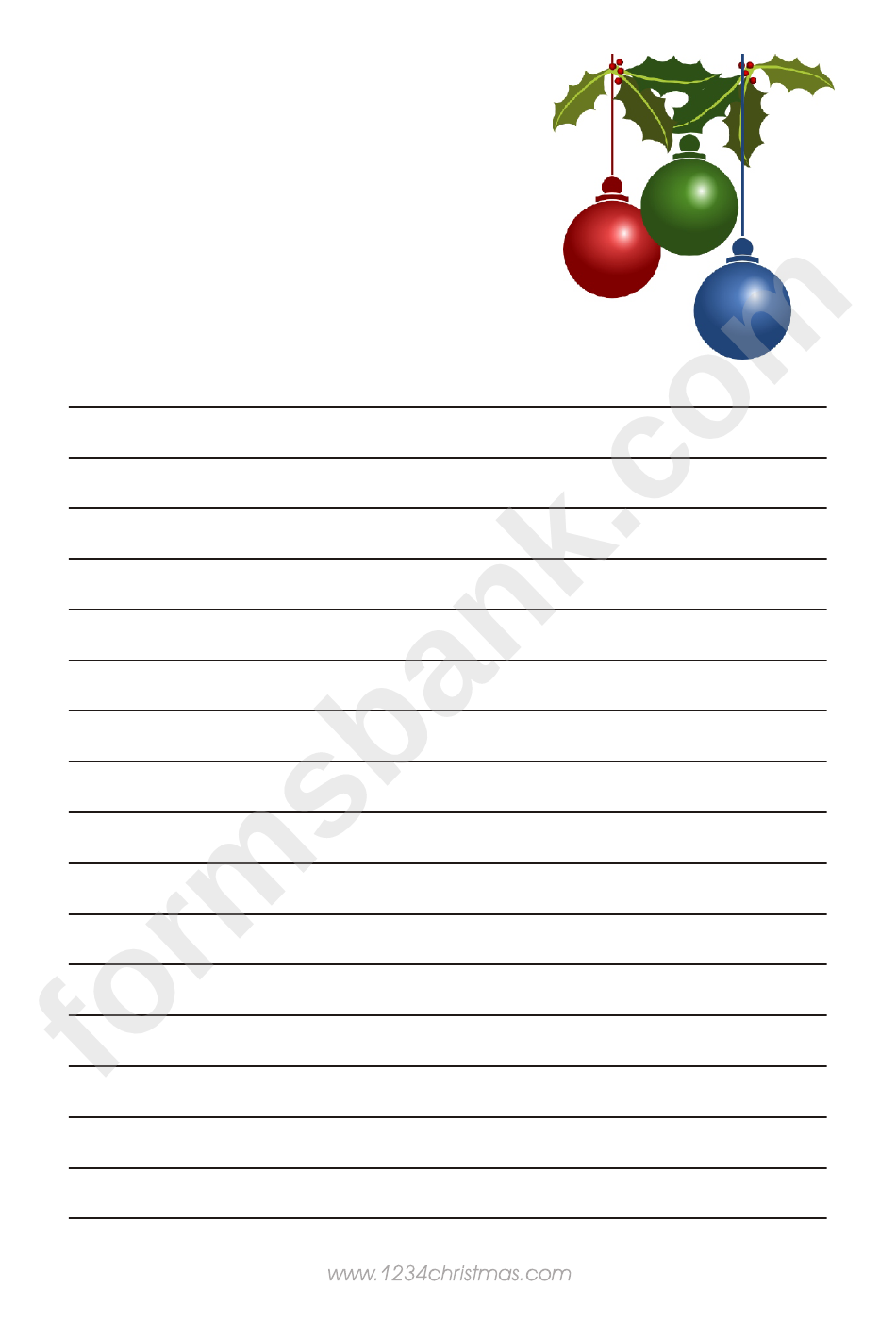 Christmas Tree Toys Writing Paper Template