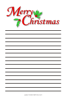 Merry Christmas Writing Paper Template