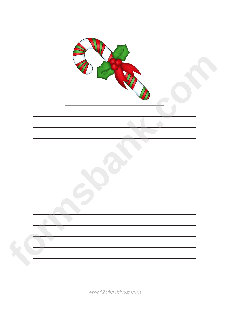candy christmas writing paper template printable pdf download