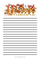 Singing Deers Christmas Writing Paper Template
