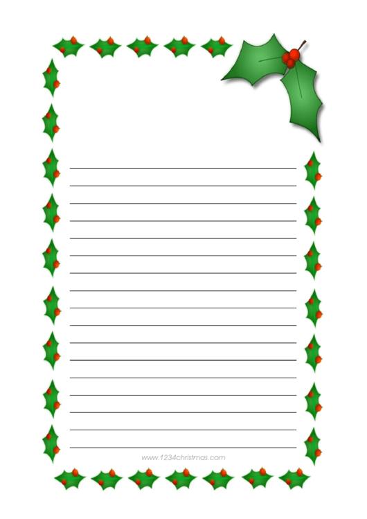 Christmas Writing Paper Template Printable pdf