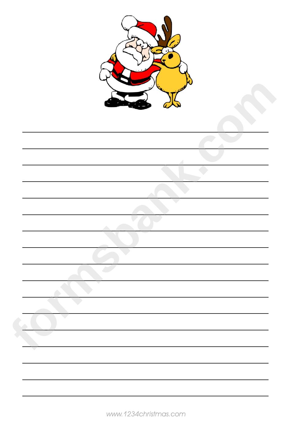 Santa And Deer Christmas Writing Paper Template
