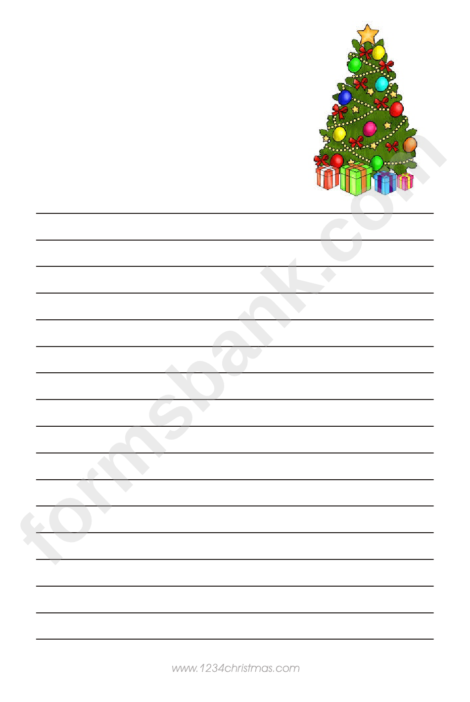 Christmas Tree Writing Paper Template
