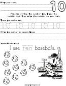 Number Ten Tracing Sheet