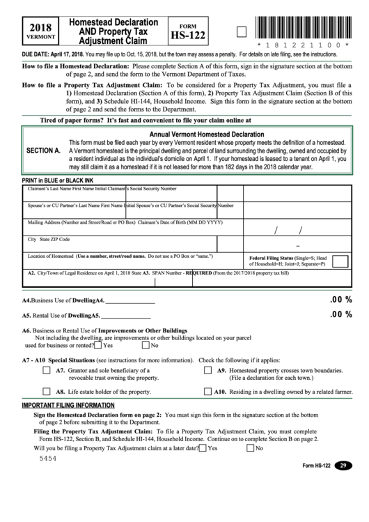 Form Hs-122, Schedule Hi-144 - Homestead Declaration And Property Tax Adjustment Claim