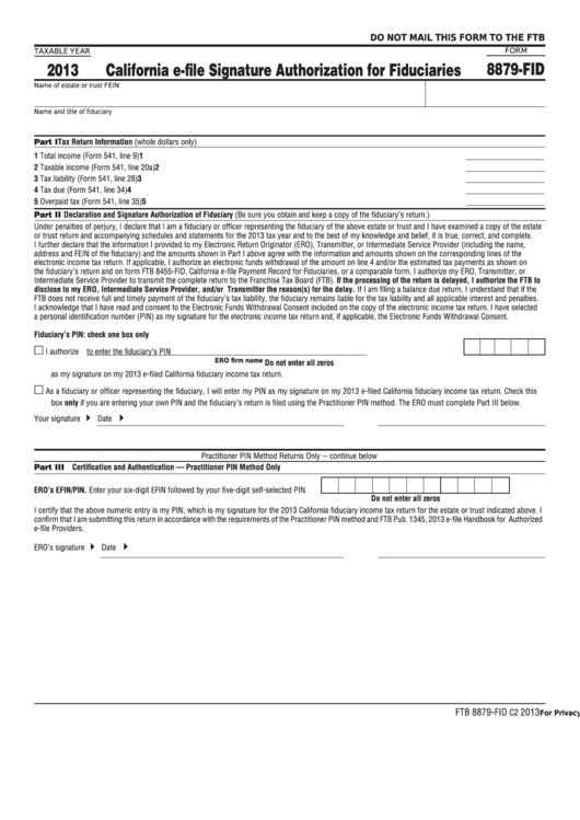 Form 8879-Fid - California E-File Signature Authorization For Fiduciaries - 2013 Printable pdf