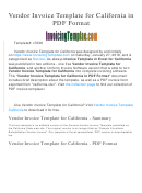 Vendor Invoice Template For California